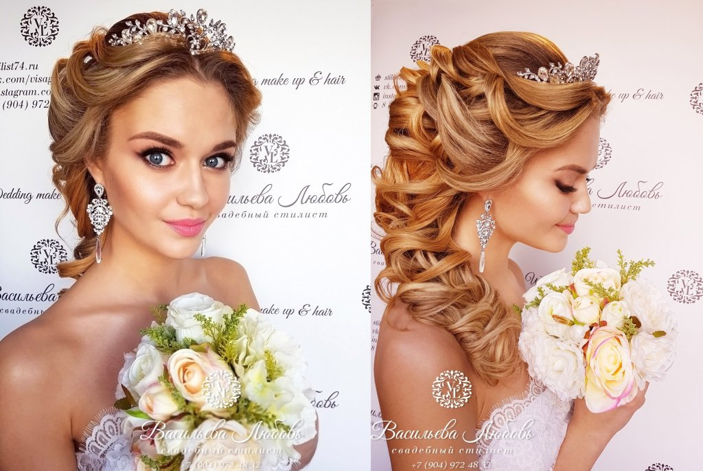 Свадебные прически на средние волосы с фатой и диадемой фото 2018