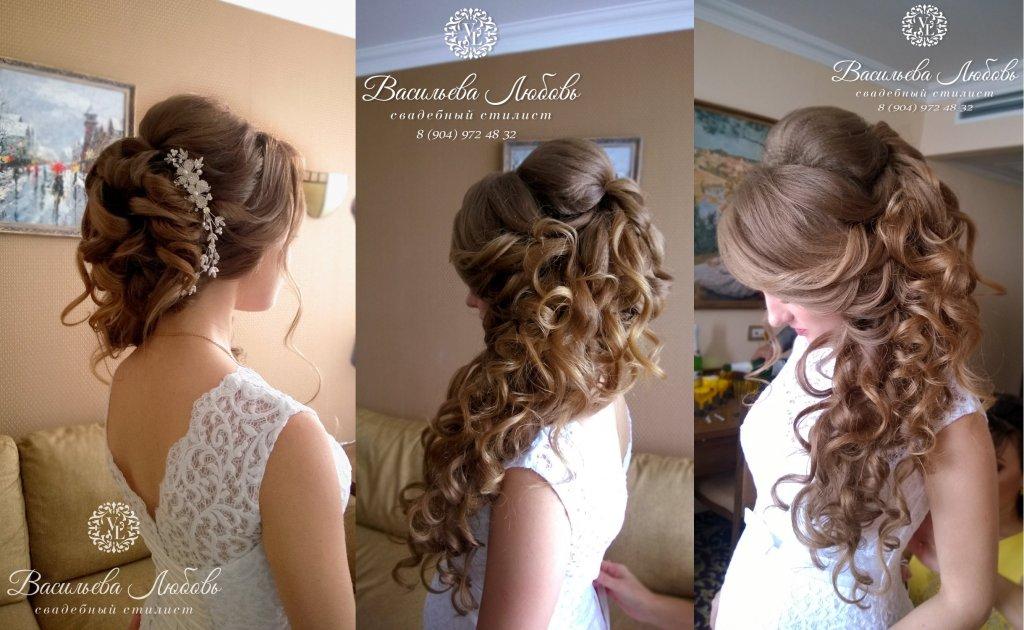 Свадебный макияж и прически в Челябинске с выездом на дом, прическа на длинные волосы греческая коса из воздушных локонов