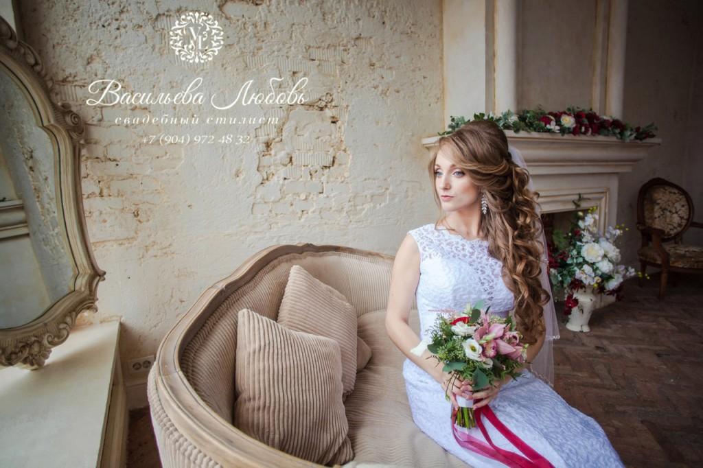 Макияж и прическа для свадебной фотосессии. Визажист Васильева Любовь.